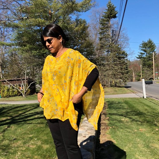 chiffon poncho - yellow with flowers