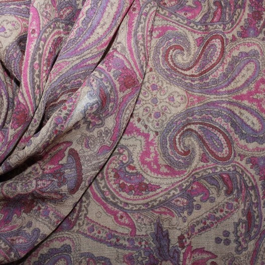 pink and purple paisley wool scarf