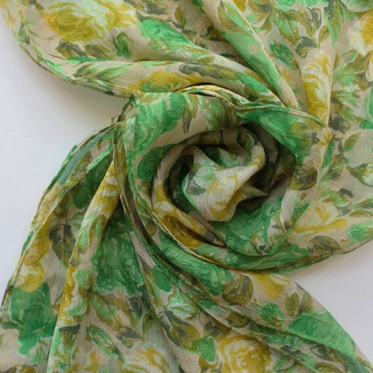 colorful spring scarf with roses