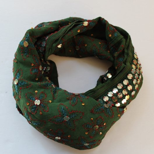 dark green scarf with embroidery