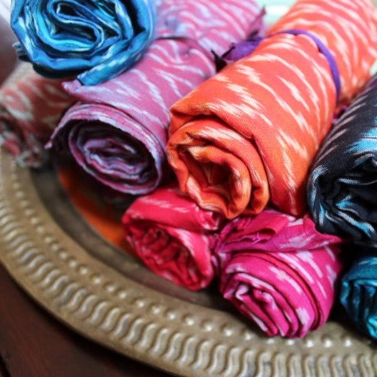 ikat scarves rose wood