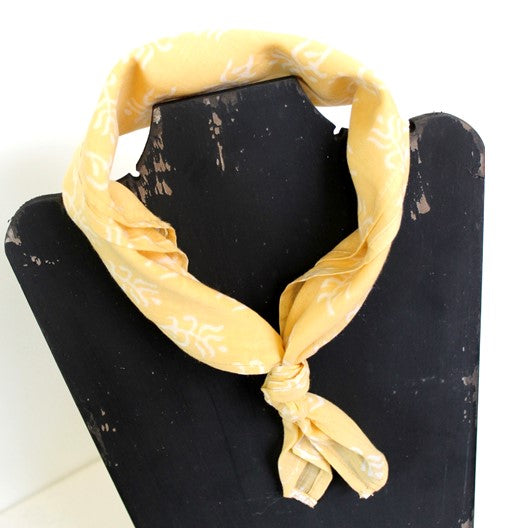 pale yellow mini square mayil 2020 cotton scarf
