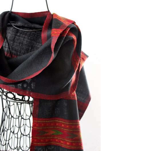 kashmiri wool scarf for men - black with multiple red borders