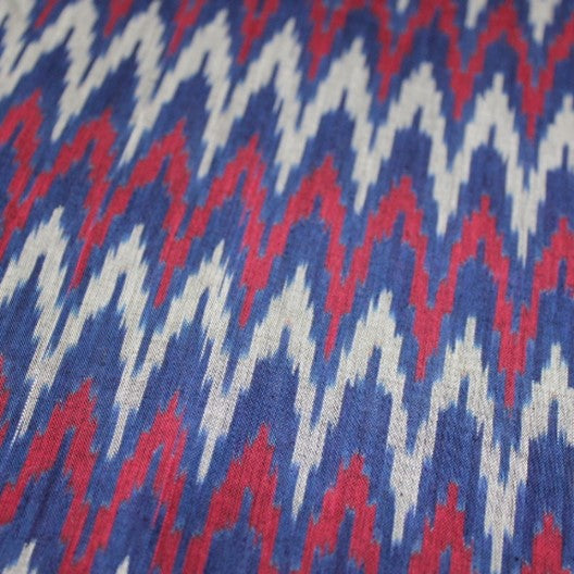 blue and red ikat scarves
