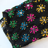 black scarf with colorful flower embroidery