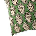 dancer face durga face fabric cushion cover