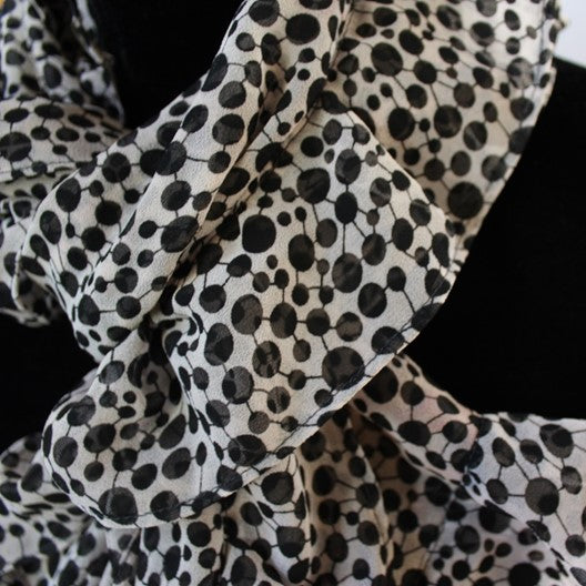 chiffon ruffle scarf - white and black