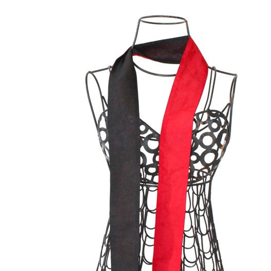 skinny scarf - reversible black with blue or red silk
