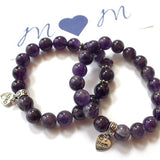 agate bracelet with love mom charm
