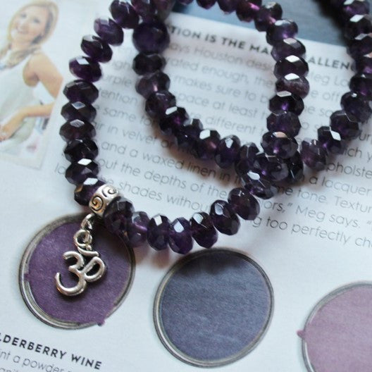 amethyst gemstone bracelet set of 2