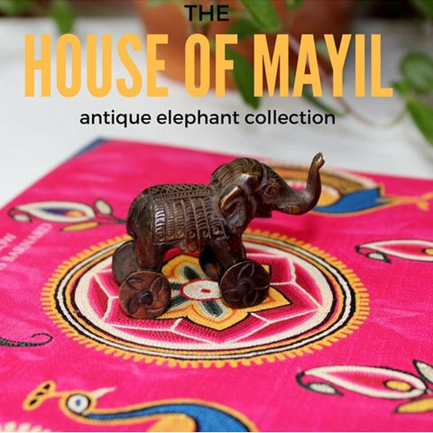 house of mayil antique brass elephant collection