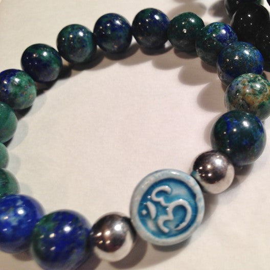 azurite and om charm