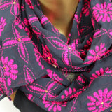 black and fuchsia scarf