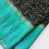 black and turquoise silk scarf