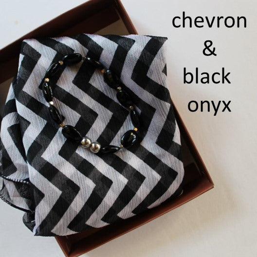 chevron scarf and black onyx bracelet