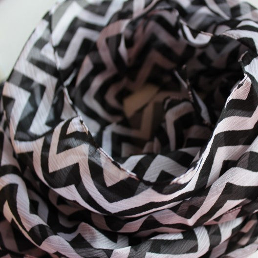 black and white chiffon scarf