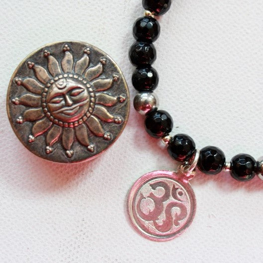 black onyx and om pendant
