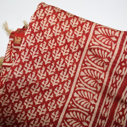 block print cotton scarf - red