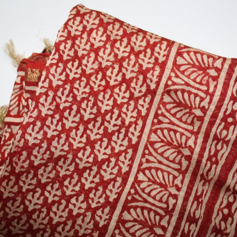 block print red cotton scarf