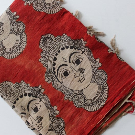 Kalamkari scarf - block printed faces