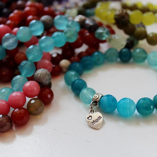 blue agate bracelet with love mom charm