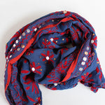 blue and red embroidered scarf