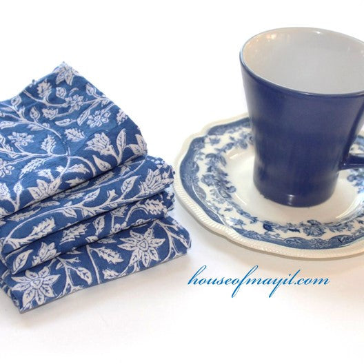 block print dinner napkins - blue and white