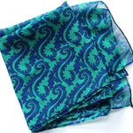 turquoise and blue chiffon scarf with arabesque motifs