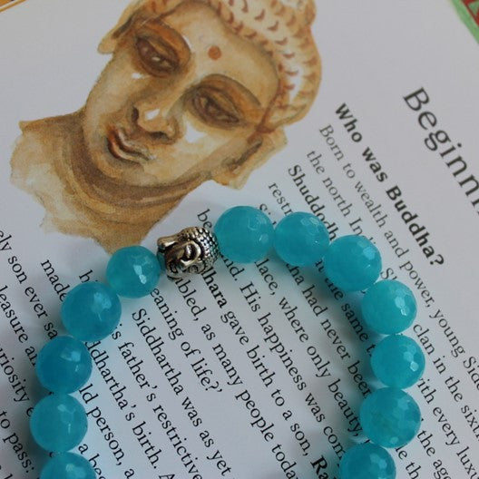 blue gemstone bracelet with Buddha