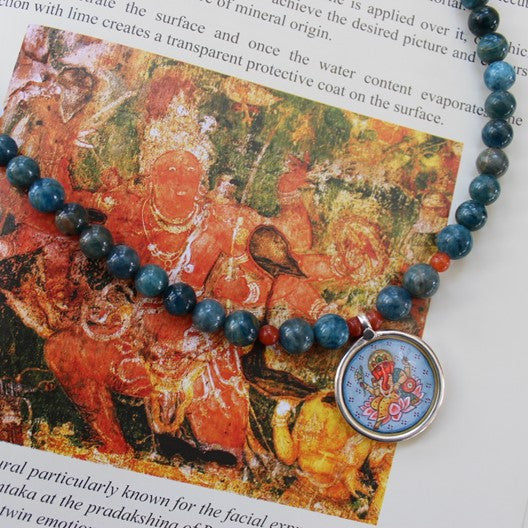 blue agate gemstone necklace silver ganesha