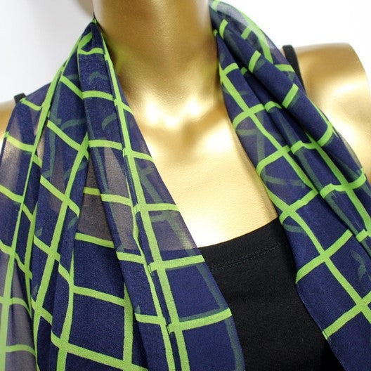 blue scarf with checks