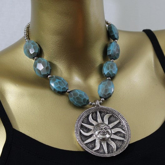 bohemian necklace with sun pendant