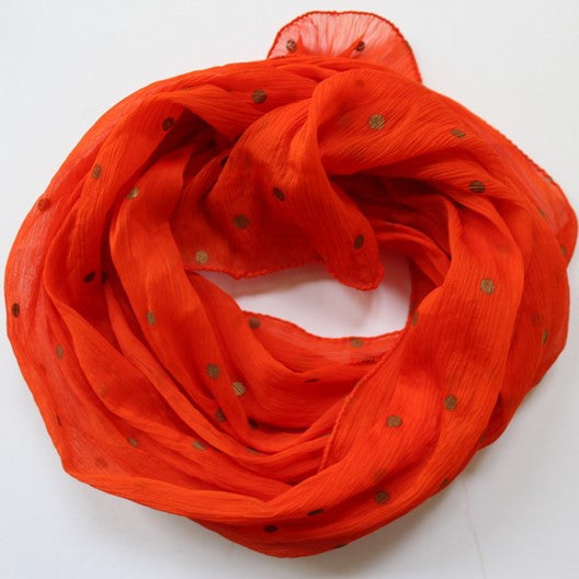 Zari dot chiffon scarf - bright orange