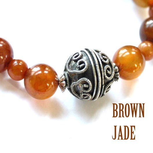 brown jade and silver necklace