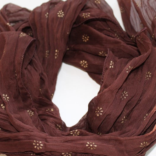 Zari flower chiffon scarf - brown