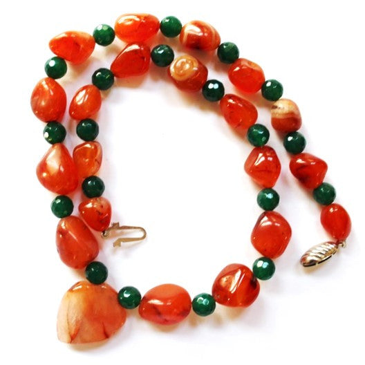 carnelian and jade gemstone necklace