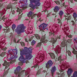 chiffon scarf with pink and purple roses