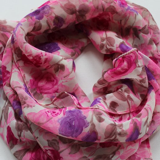 colorful chiffon scarves with rose pattern