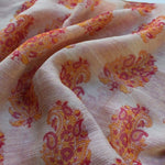 coral and cream chiffon scarf