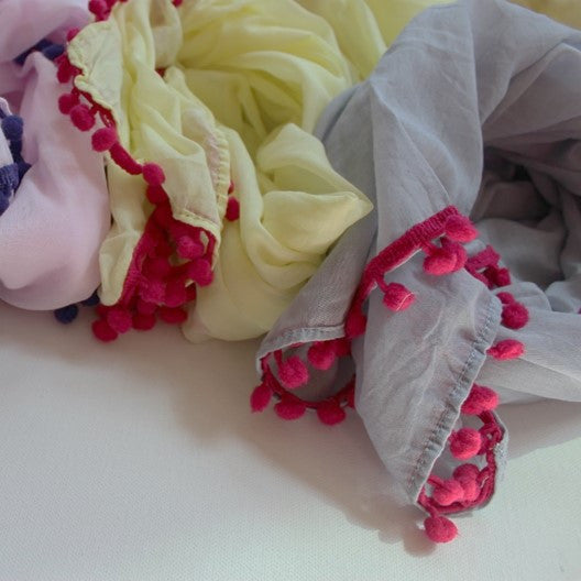 cotton scarves with pom pom trim