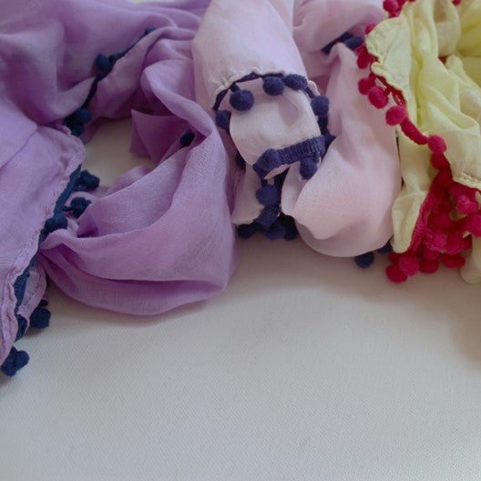 cotton scarves with pom poms
