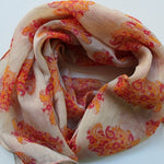 cream chiffon scarf with coral paisleys