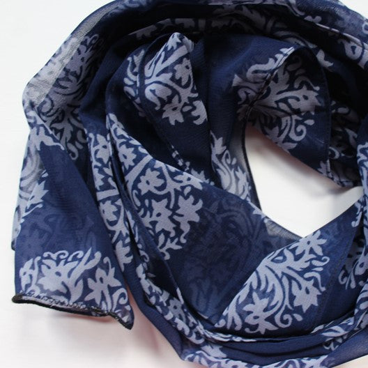 blue chiffon scarf with tree motifs