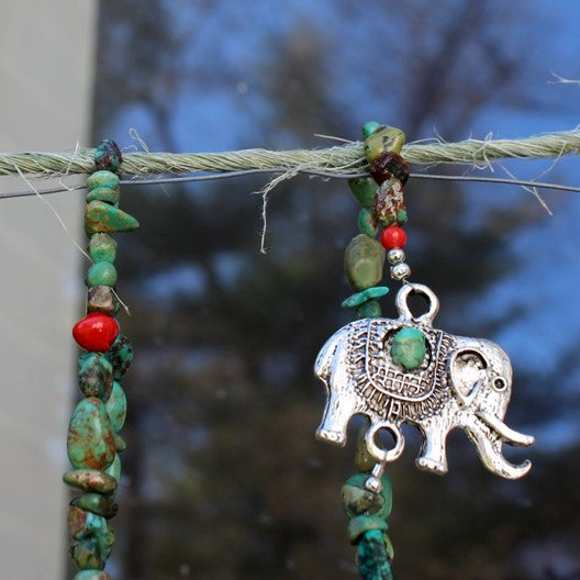 elephant necklace and turquoise chip
