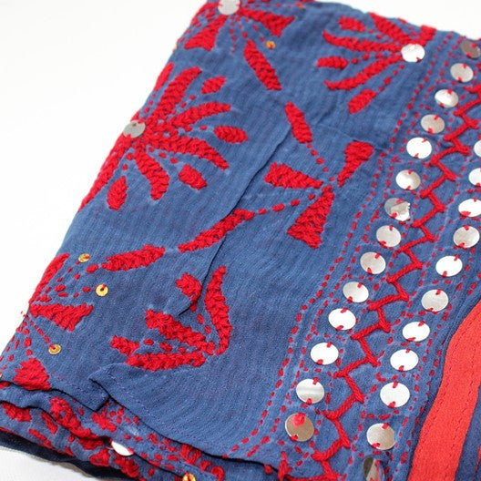 Embroidered and sequined scarf - denim blue