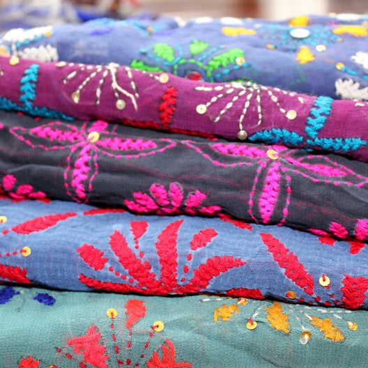 embroidered scarves for women
