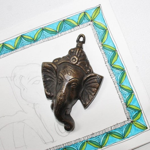 Ganesha face bronze