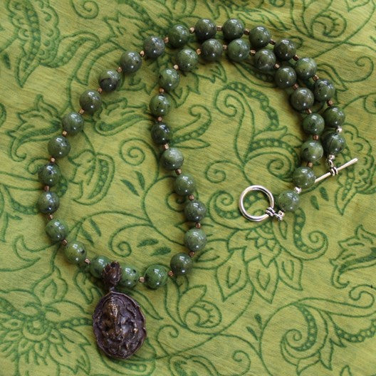 green jasper gemstone necklace ganesha pendant