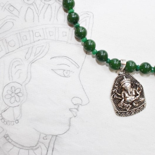 green jade necklace ganesha pendant
