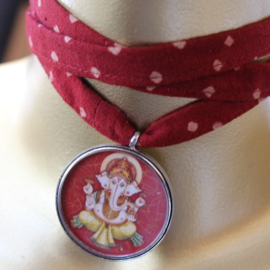 fabric choker necklace - silver ganesha pendant